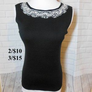 Black Embroidered Knit Shell xs Sleeveless Blouse